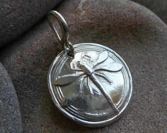 Dragonfly Beautiful large Silver Precious Metal Clay Pendant