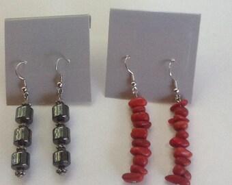 Earrings 2 pairs , gray, red