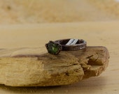 Green Tourmaline Electroformed Copper Ring, sealed wont turn finger green, Size 5