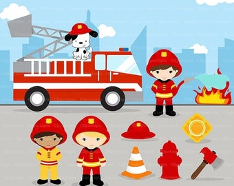 50% OFF SALE FIREFIGHTER Digital Clipart, Fireman boys Clip art, Fire truck Clipart for Personal and Commercial Use / Instant Download