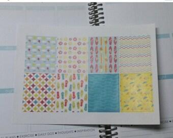BIRTHDAY SALE 8 Summertime theme washi type sheet stickers for erin condren life planner