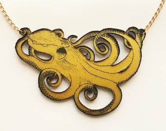 Golden acrylic octopus necklace