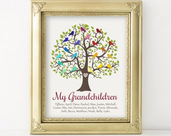 Grandparent Gift My Grandchildren Personalized Gift Family Tree Birds Print Christmas Gift for Grandparents Keepsake from Grandkids 16x20