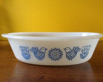 Vintage Glasbake Blue Bird Oval Casserole