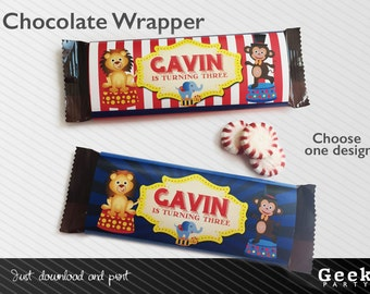 Circus / Carnival Style Chocolate Wrapper - Printable - Lion - Monkey - Elephant