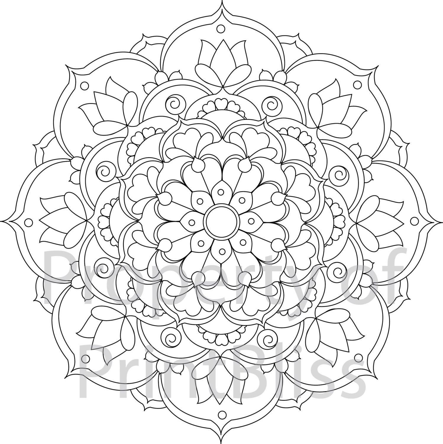 24 flower mandala printable coloring page. Black Bedroom Furniture Sets. Home Design Ideas