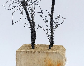 Hand twisted wire flowers; Wire work,  Wire art, Driftwood art, Driftwood Sculpture, Wedding Gift, Valentine's Day Gift, New Home Gift