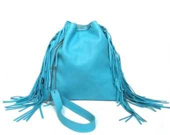 Blue leather bag with fringe