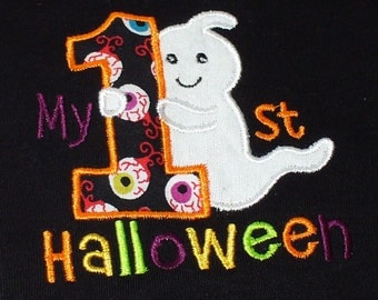 Baby's First Halloween baby body suit, shirt, bib or burp cloth.