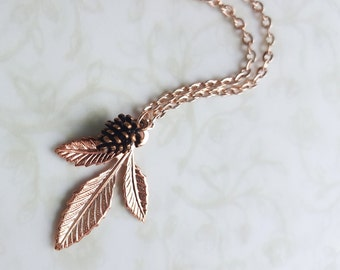 Rose Gold Leaves & Pinecone Necklace - Woodland Rustic Wedding, Boho, Nature, Garden, Copper