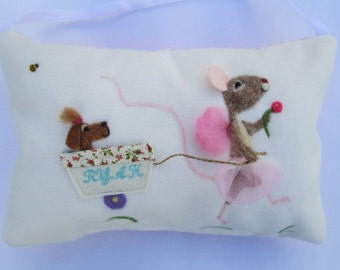 Reserved bunny fairy design tooth fairy pillow, with mouse in the wagon.