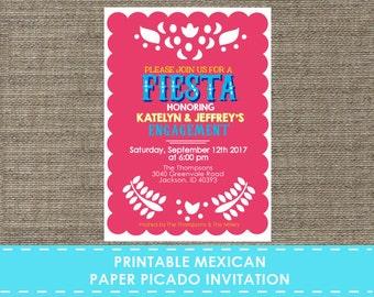 Mexican Paper Picado Banner Invitation - Printable - DIY