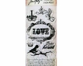 Tim Holtz URBAN GRUNGE Love Bird on branch chandelier Clear acrylic Stamps stamp set 1.cc02