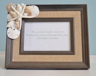 White Seashell Beach Decor, Seashell Frame, Beach Wedding Gift, Nautical Decor 4x6 Frame