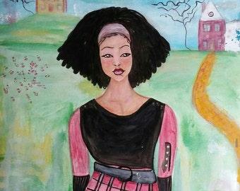 Original 11x14 Modern African American landscape figure painting folk ArT
