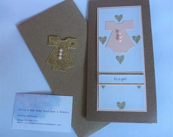 It's a girl! handmade baby card and gift tag