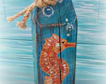 Decorative buoy - Nautical buoy - Wooden buoy - painted buoy - beach decor - coastal decor - beach scene - lobster buoy - custom  painted