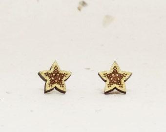 Star Eco-Friendly Walnut Stud Earring