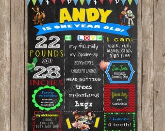 Toy Story Birthday Sign - Chalkboard Toy Story Birthday Printable Sign - Toy Story Themed Birthday Poster Printable - DIY Printable