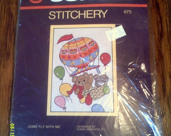 Vintage Sunset Stitchery Kit, Come Fly With Me 675, Juvenile Stitchery, Juvenile Stitchable, Sunset Stitchable 675, Balloons Stitchable