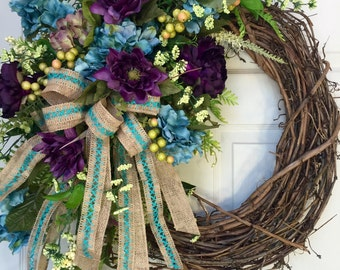 Round Everyday, Neutral Purple and Turquoise Grapevine Wreath