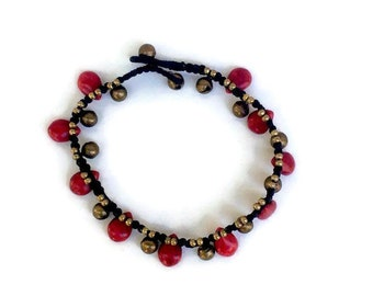 Red Seed Anklet Waxed Linen Cord - Thailand (042B)