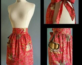 1950s Hawaiian print apron