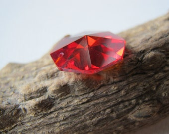 11mm Cubic Zirconia Ruby Red Octagon Bead S141