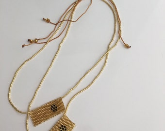 Gold Beaded Necklace >adjustable  neckline > boho > festive > style > statement >unique > gift > idea > summer> winter > trends