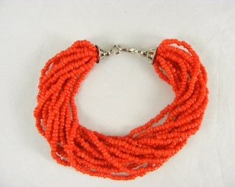 8 Inch Bead Bracelet, Red, Beautiful! Free Shipping Included