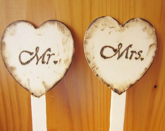 Mr. & Mrs. Cupcake Cake Topper, Wedding Decorations for Engagement Bridal Shower, Custom Wood Burn, ShineKidsCrafts