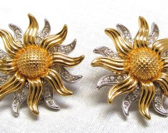 KJL Signed Sunflower Clip Earrings Kenneth J Lane