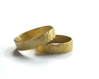 UK N Brass Stacking/Midi Handmade Hammered Ring x 2 - for Martina