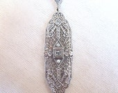 Sterling Silver Edwardian Style Filigree Aquamarine Pendant with Seed Pearls