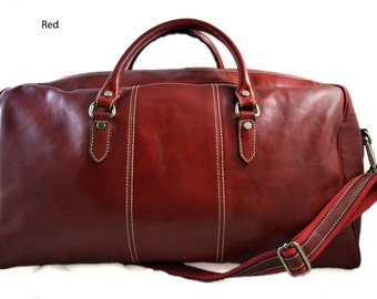 Duffle bag genuine leather red shoulder bag black brown mens ladies travel bag gym bag luggage made in Italy red weekender duffle overnight
