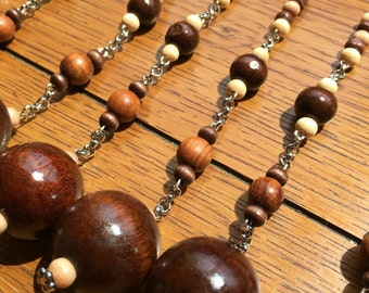 Shower Curtain Hook Decoration. Wood  Silver chain. 6.5 inches long.