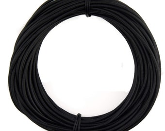 Black Natural Dye Round Leather Cord 2mm 25 meters (27.34 yards)