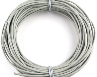 Gray Round Leather Cord 2mm 10 meters (11 yards)