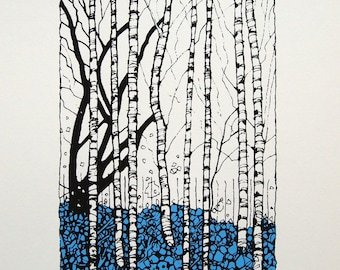 Winter Birches - Screenprint