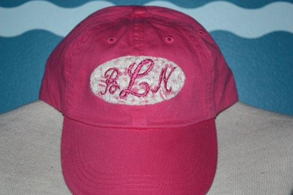 Monogrammed baseball cap - lace covered monogram ladies hat - custom monogrammed hat - fancy lace baseball hat monogrammed - ladies gift