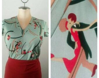 Puttin on the Ritz  Rockabilly Vintage V Neck Shirt Pinup Novelty Print Short Sleeve Blouse SUB141