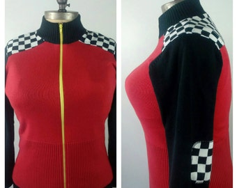 HOT ROD Vintage Racer Girl Cardigan Rockabilly Pinup Girl Checkerboard Sweater Size Large SUB84