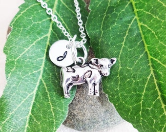 COW NECKLACE in silver tone - farm animal - personalized with initial charm - choice of chains - one flat rate shipping in my shop :)