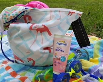 Flamingo Wet Bag  Food Bag, Diaper Bag Pool Bag Beach Bag Gym bag with wristlet