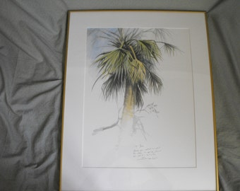 John SEERY-LESTER (1945) Watercolor on Paper Painting of a Palm Tree