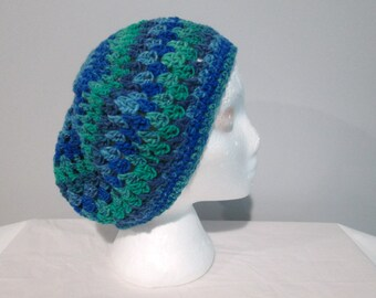 Blue and Green Slouchy Beanie, Slouch Hat, Boho, Bad Hair Day Hat, Tam, Spring Hat, Fall Accessory, Urban Slouch, Made in Canada