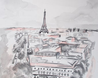 Pink Paris Eiffel Tower, art prints