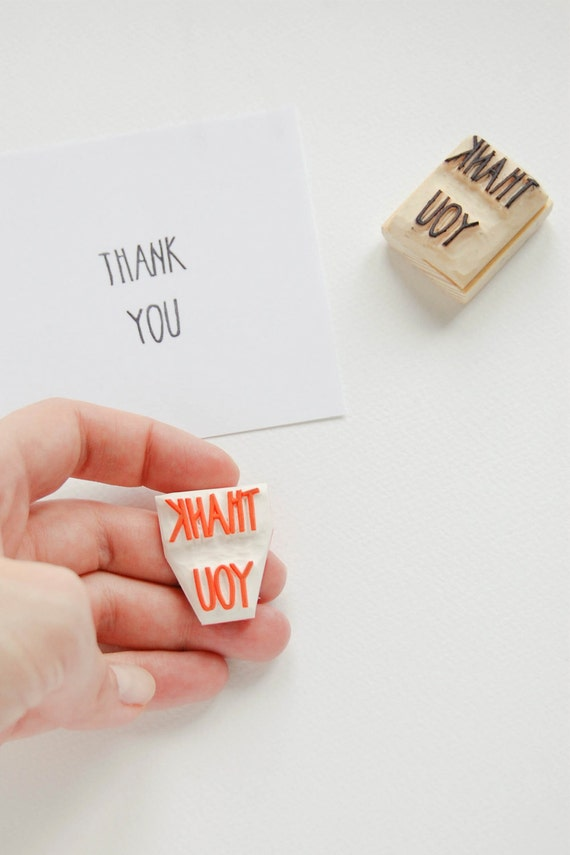 Thank You Stamp Small Rubber Stamp Simple Letter Stamp