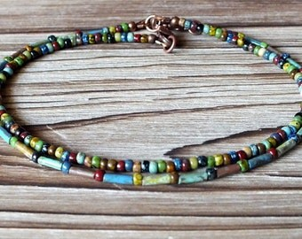 Bohemian Picasso Seed Bead and Bugle Bead Anklet Set, boho anklet, hippie anklet, bohemian jewelry, boho, hippie, bohemian, ankle bracelet
