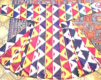 Antique silk on silk Ikat chapan.